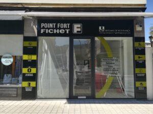 Decoração de montra Jorge D'Almeida Pont Fort Fichet em vinil autocolante