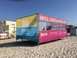 Decoração exterior Miss Costa Nova Cup 2021 em lona