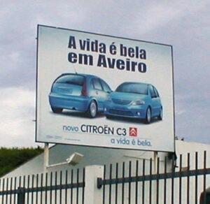 Outdoor Painel 4x3m Citroen C3 em Aveiro